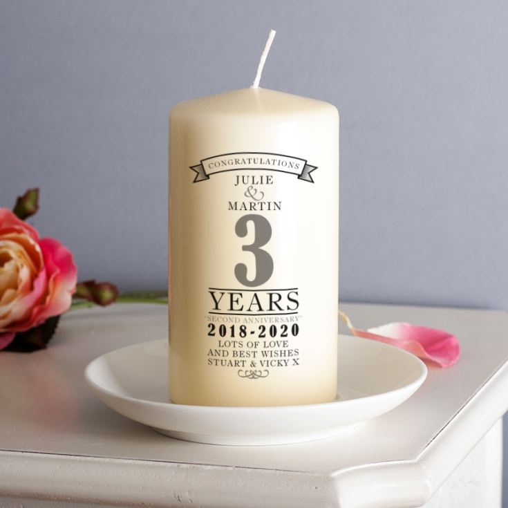 Personalised 3rd Anniversary Candle product image