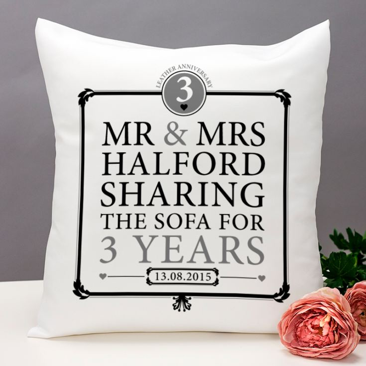 Personalised 3rd Anniversary Sharing The Sofa Cushion product image