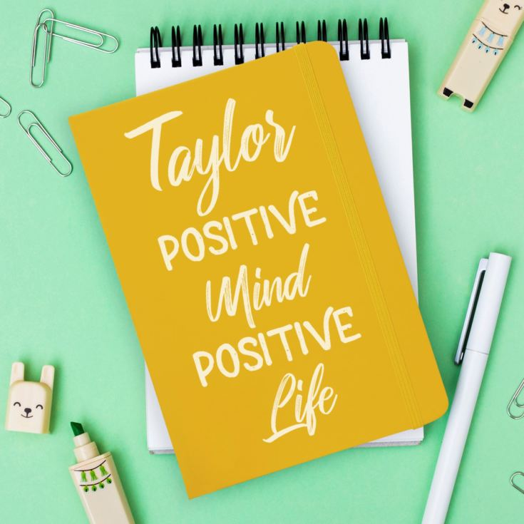 Personalised Positive Mind Positive Life A5 Yellow Notebook product image