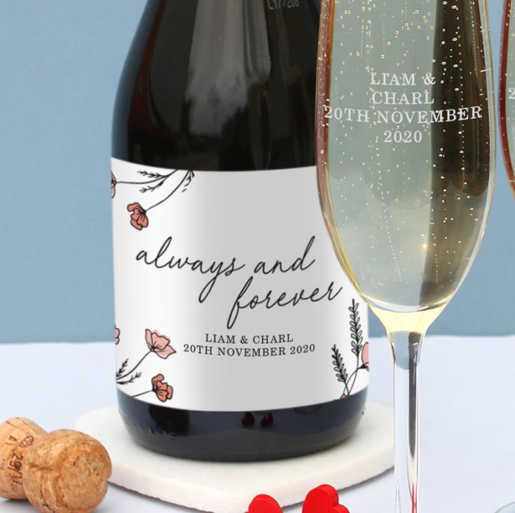 Always & Forever Personalised Prosecco & Glasses Set in Silk Lined Box product image