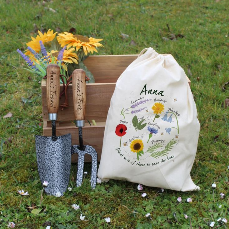 Save The Bees Personalised Gardening Tool Set product image