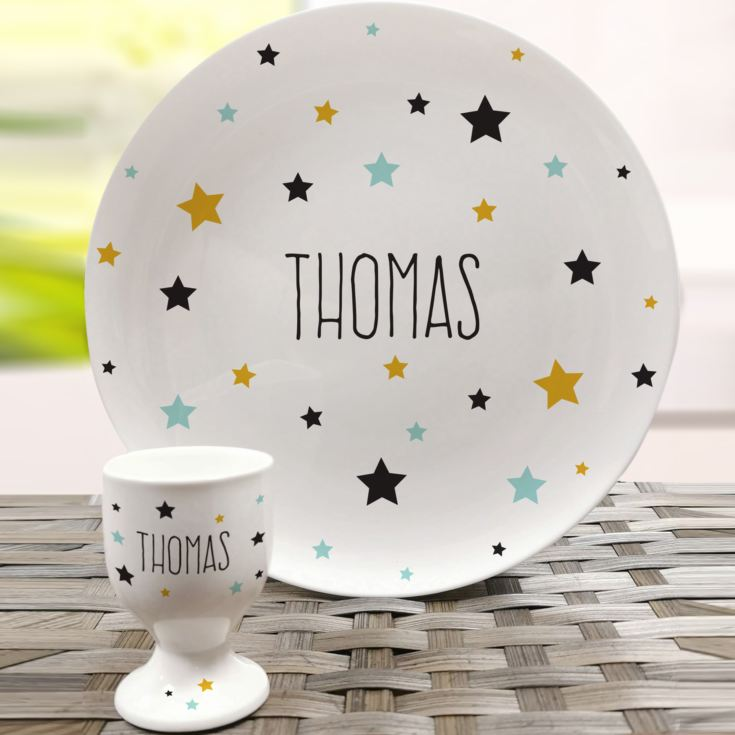 Personalised Star Bone China Plate and Egg Cup product image