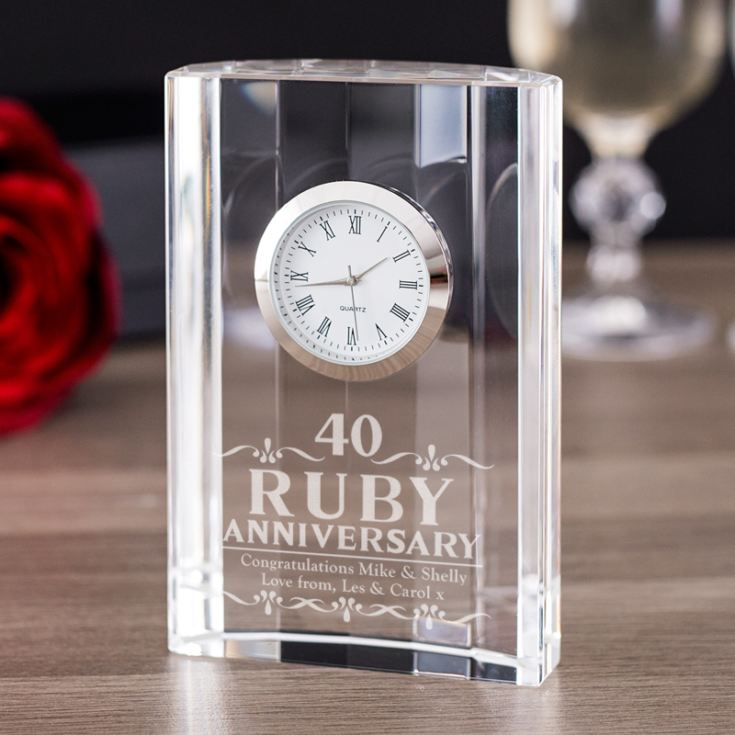 Engraved Ruby Wedding Anniversary Mantel Clock product image