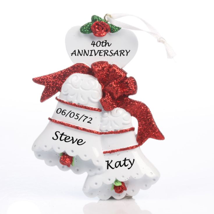 Ruby Anniversary Personalised Bells Ornament product image