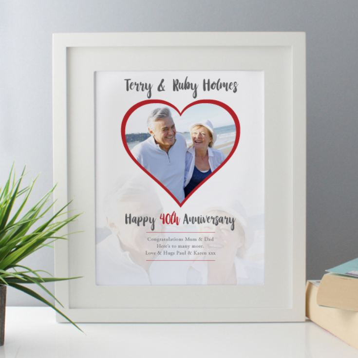 Personalised Ruby Wedding Anniversary Framed Photo Print The