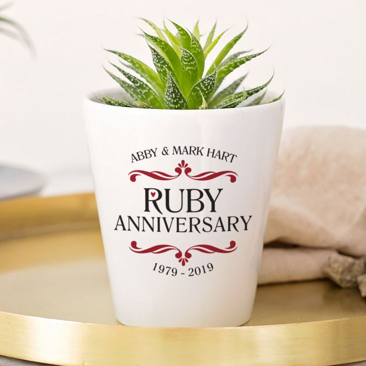 Personalised Ruby Wedding Anniversary Plant Pot product image
