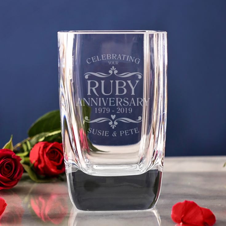 Personalised Ruby Wedding Anniversary Glass Vase product image