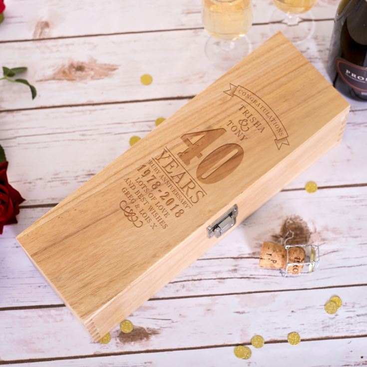 Personalised 40th Wedding Anniversary Luxury Wooden Wine Box product image
