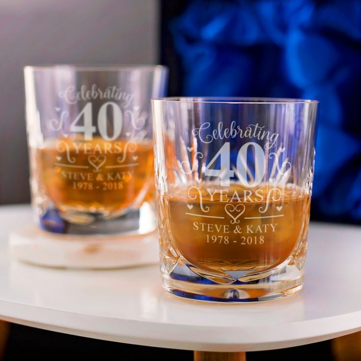 Engraved Cut Crystal Ruby Anniversary Whisky Tumblers product image