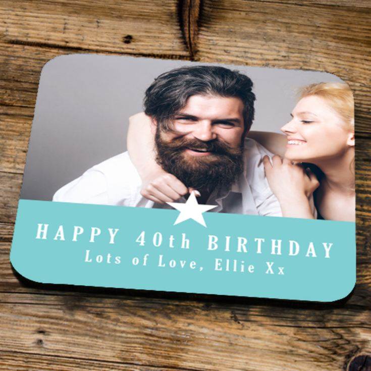 Personalised 40th Birthday Blue Photo Coaster product image
