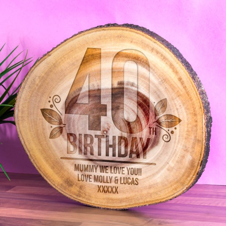 Personalised 40th Birthday Tree Slice product image