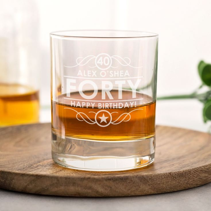 Personalised 40th Birthday Whisky Glass product image
