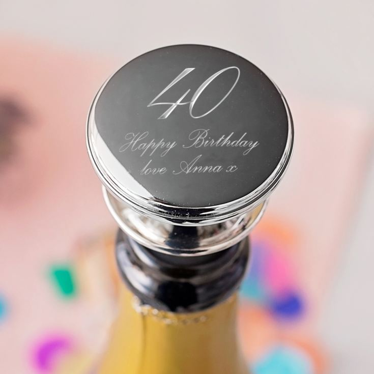 Personalised 40th Birthday Wine Bottle Stopper product image