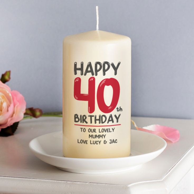 Personalised 40th Birthday Candle Red product image