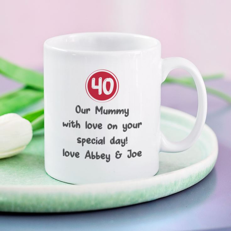 Personalised 40th Birthday Mug Red product image