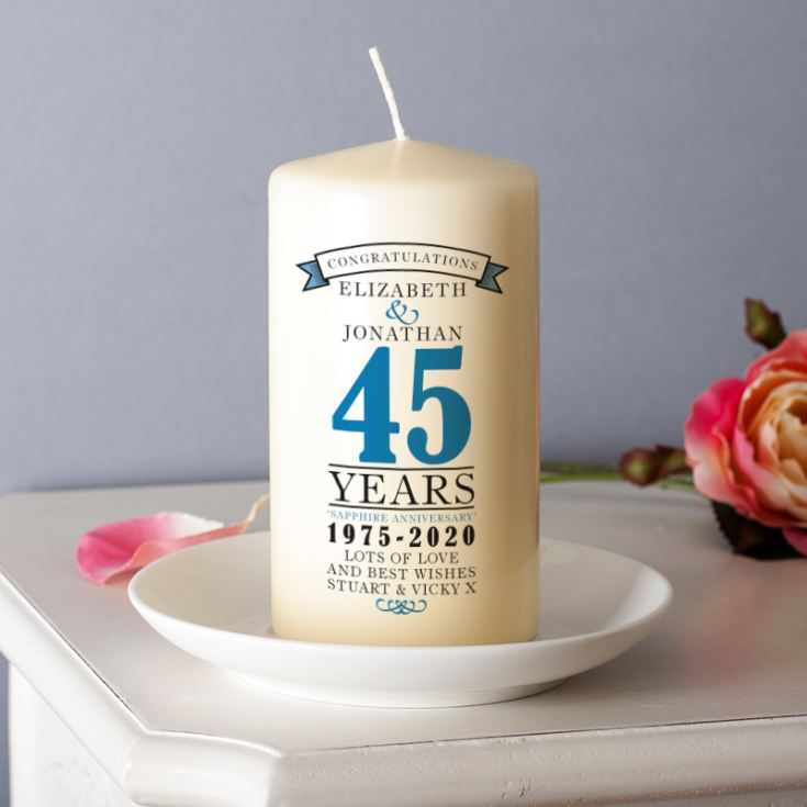 Personalised 45th Anniversary Candle product image