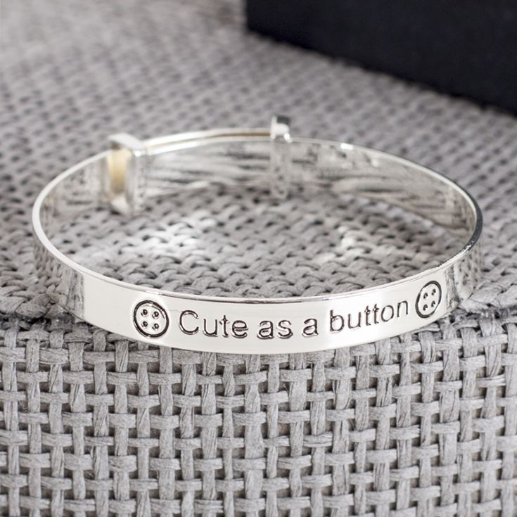 Cute As A Button Expandable Baby Bangle In Personalised Box product image