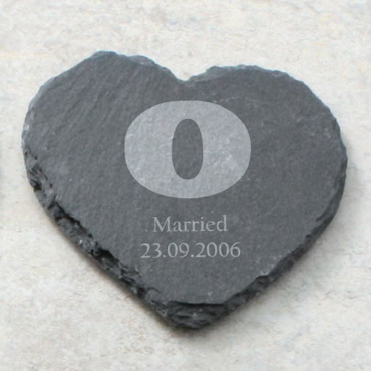 Personalised set of 4 Love Heart Slate Coasters product image