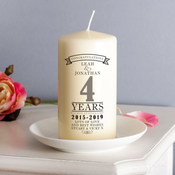 What Is 4th Wedding Anniversary Gift: Personalised 4th Anniversary Candle