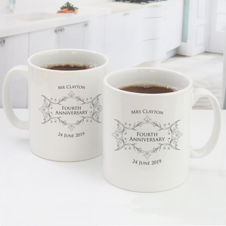 Pair of Personalised Fourth Anniversary Mugs product image