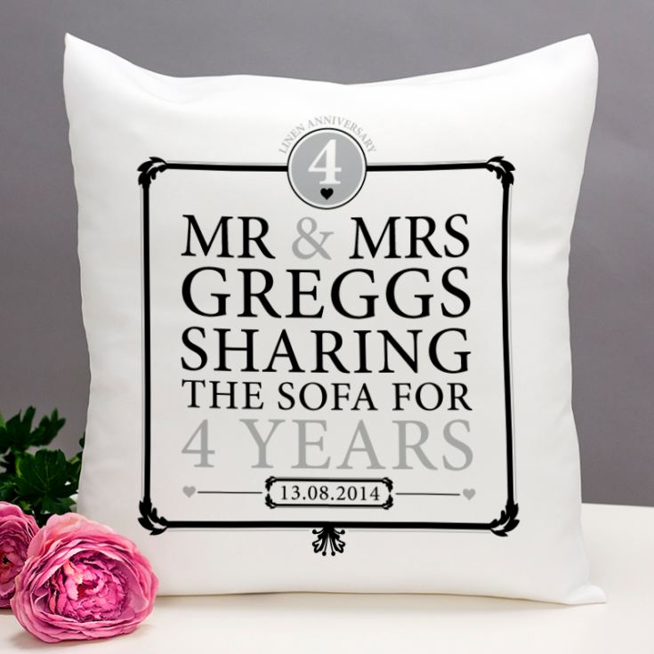 Personalised 4th Anniversary Sharing The Sofa Cushion product image