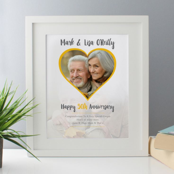 Personalised Golden Wedding Anniversary Framed Photo Print product image