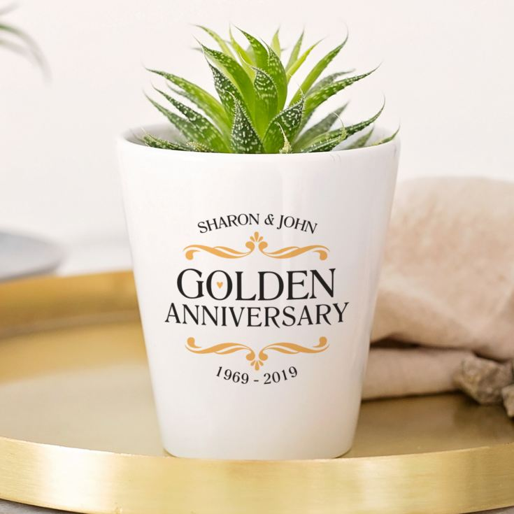Personalised Golden Wedding Anniversary Plant Pot product image