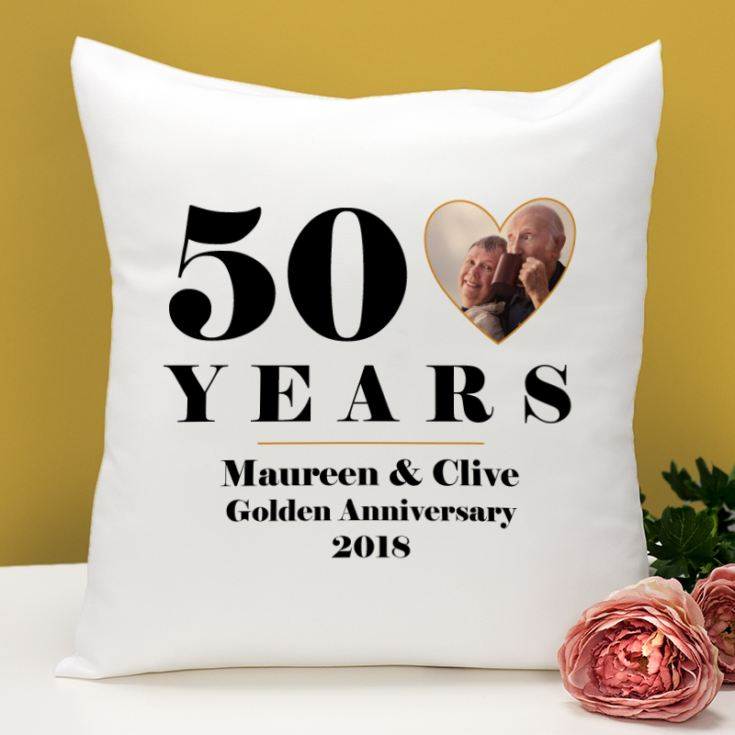 Personalised 50th Wedding Anniversary Photo Cushion product image