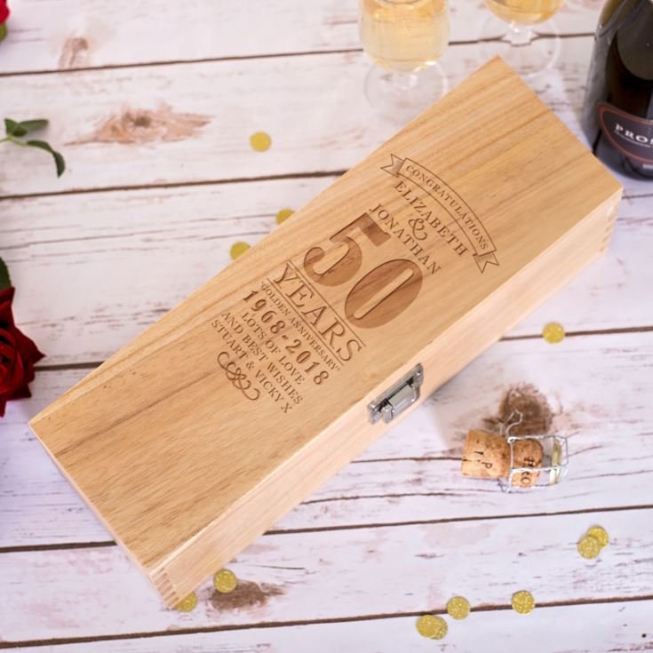 Personalised 50th Wedding Anniversary Luxury Wooden Wine Box product image