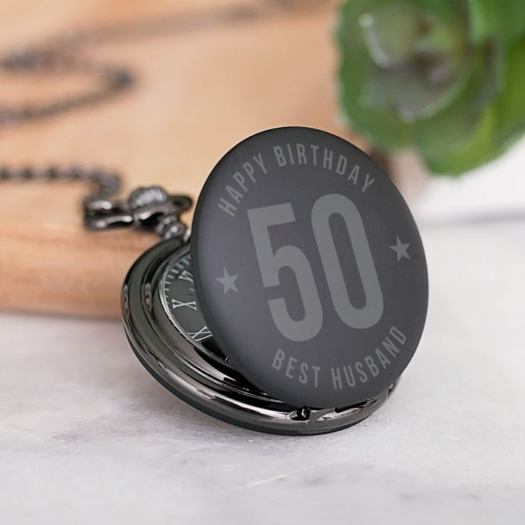 Personalised 50th Birthday Black Pocket Watch product image