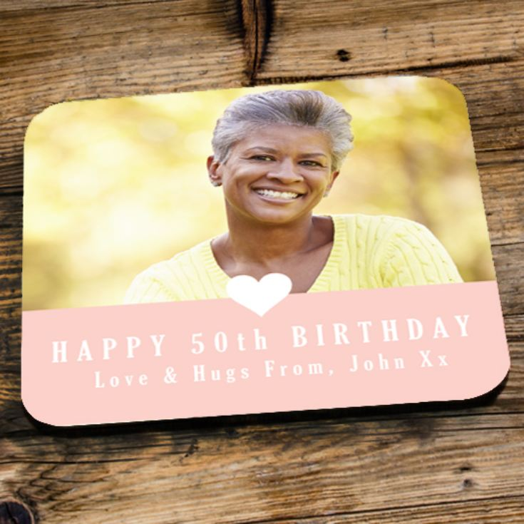 Personalised 50th Birthday Pink Photo Coaster product image