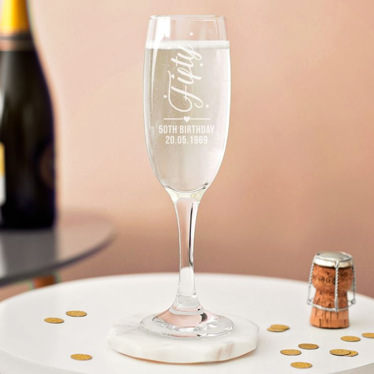 Personalised 50th Birthday Prosecco Glass product image