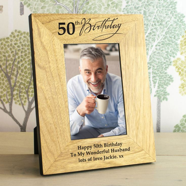 50th Birthday Wooden Personalised Photo Frame product image