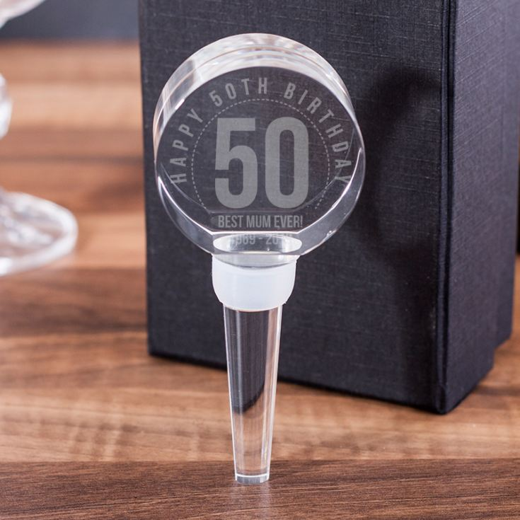 Personalised 50th Birthday Optical Crystal Bottle Stopper product image