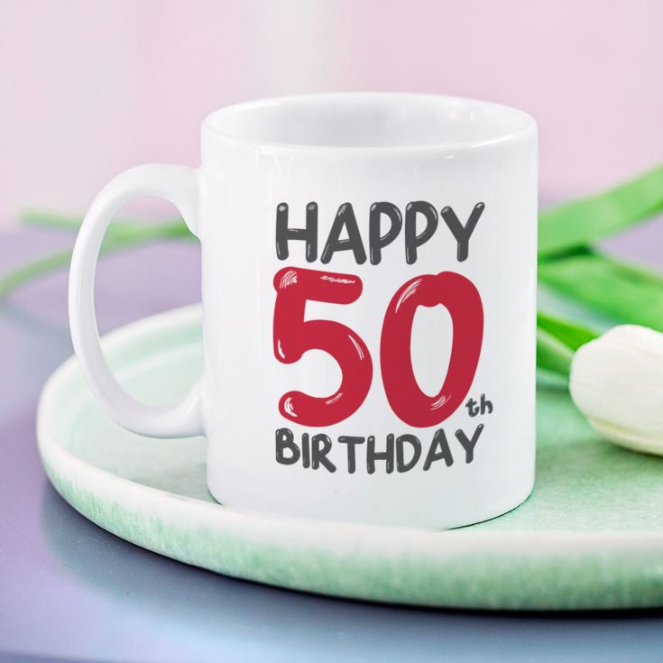 Personalised 50th Birthday Mug Red product image