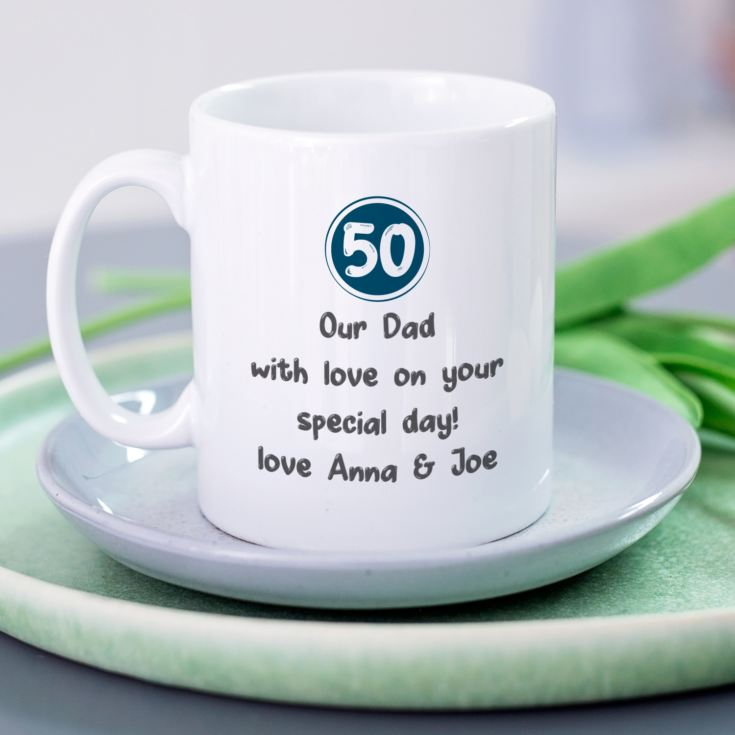 Personalised 50th Birthday Mug Blue product image