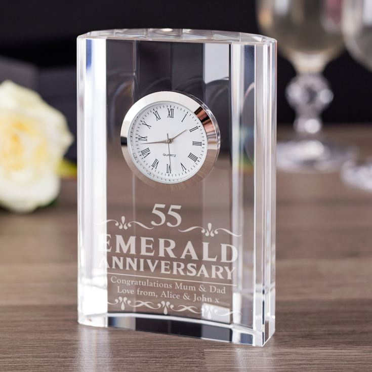 Engraved Emerald Wedding Anniversary Mantel Clock product image