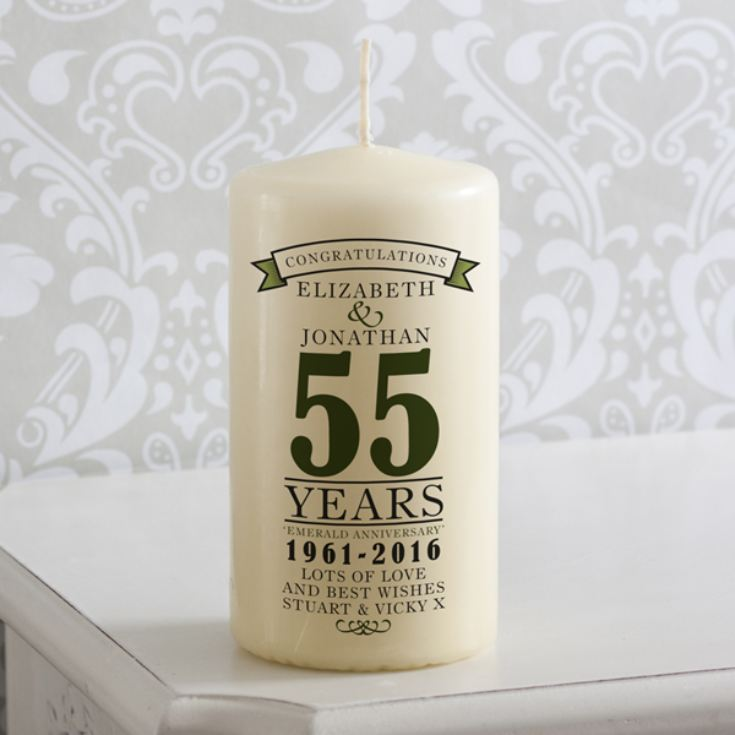 Personalised 55th Anniversary Candle product image
