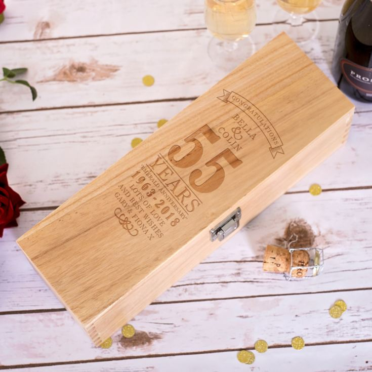 Personalised 55th Wedding Anniversary Luxury Wooden Wine Box product image