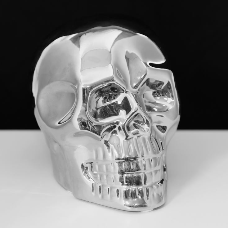 Silver Finish Ceramic Skull Figurine 15.5cm product image