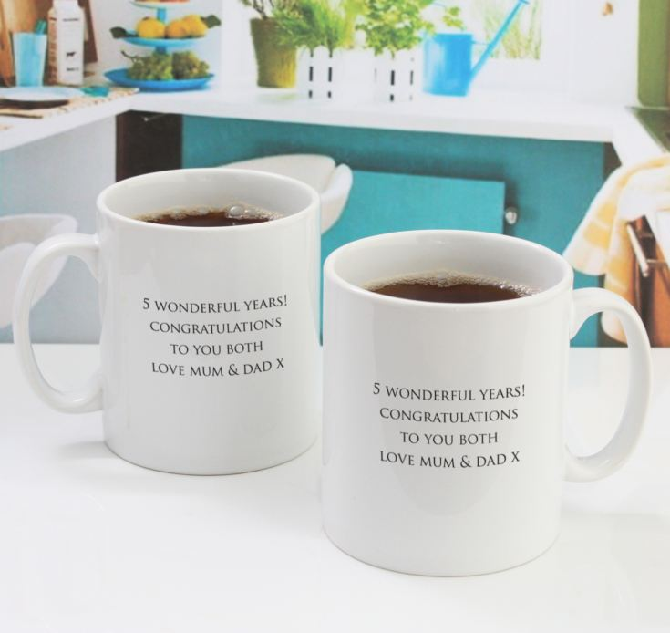 Pair of Personalised Fifth Anniversary Mugs product image