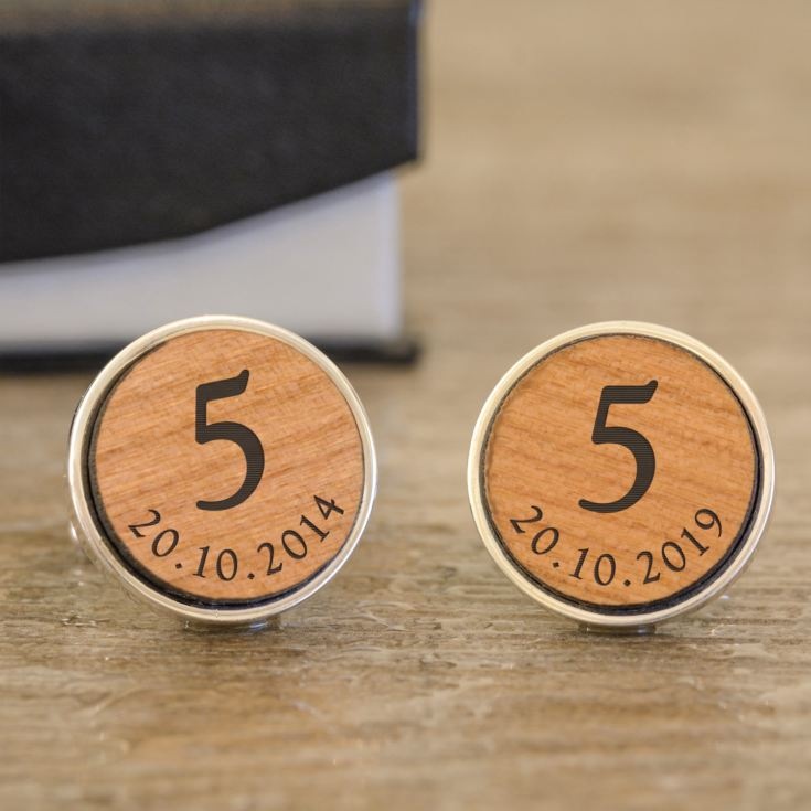 Engraved 5th Anniversary Cufflinks product image
