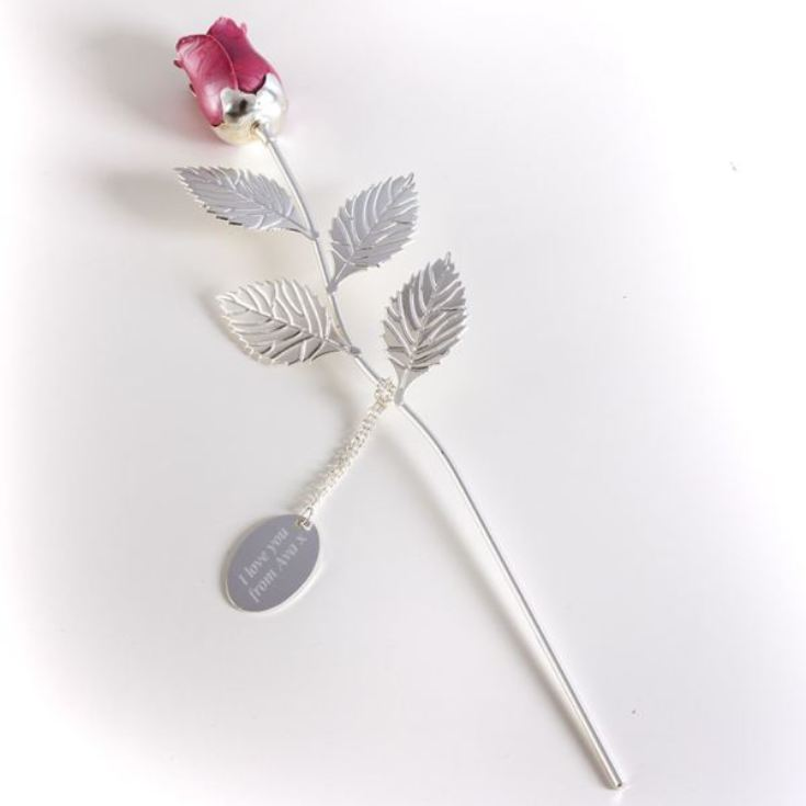 Personalised Silver Plated Rose With Pink Bud product image