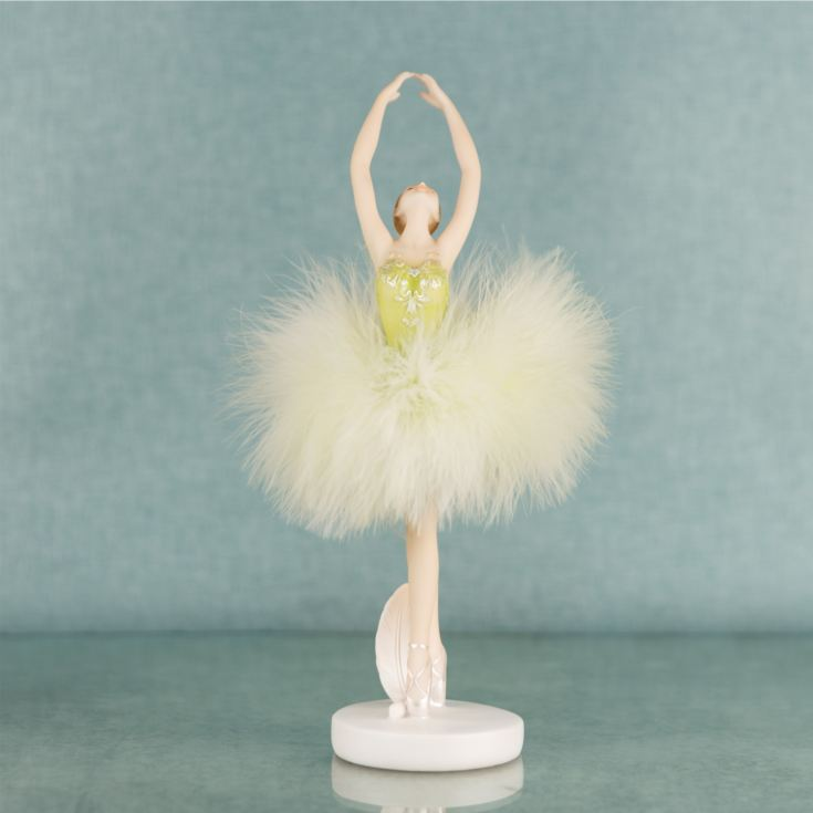 Ballerina Dancer Resin Figurine in Green Dress 23.5cm product image