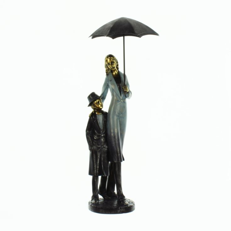 Rainy Day Figurine Mother and Son Under Umbrella product image