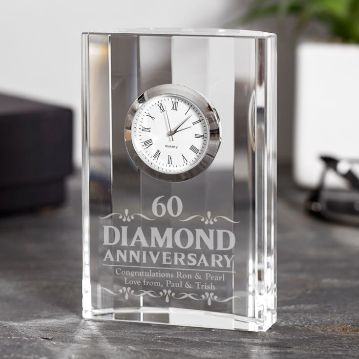 Engraved Diamond Wedding Anniversary Mantel Clock product image