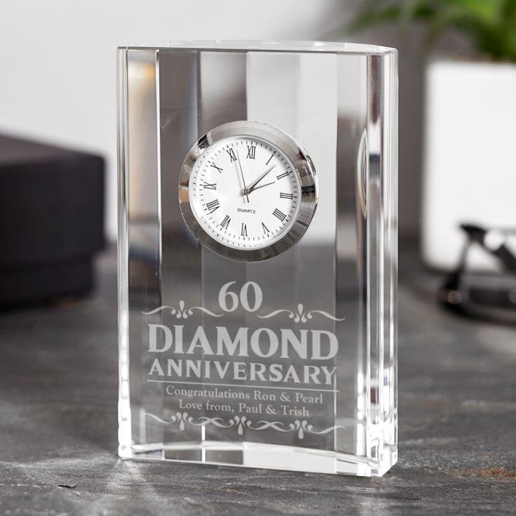 Wedding Clock Gift: Engraved Diamond Wedding Anniversary Mantel Clock