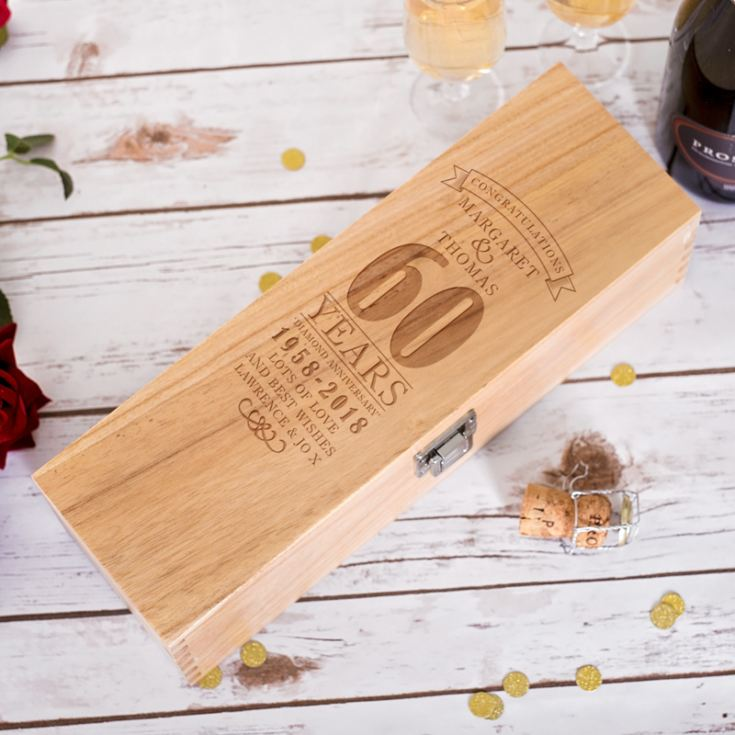 Personalised 60th Wedding Anniversary Luxury Wooden Wine Box product image