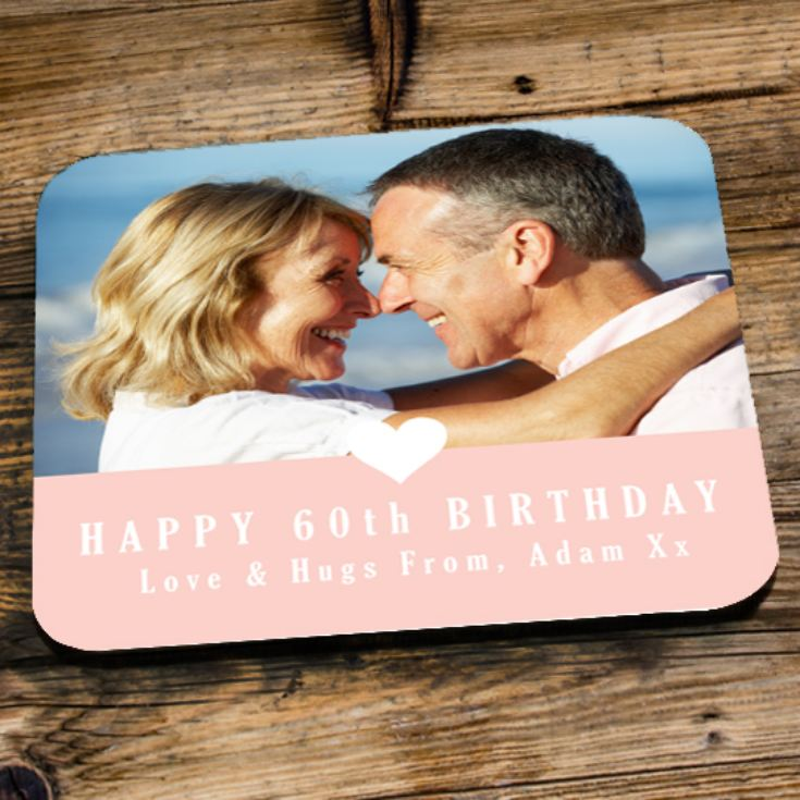 Personalised 60th Birthday Pink Photo Coaster product image
