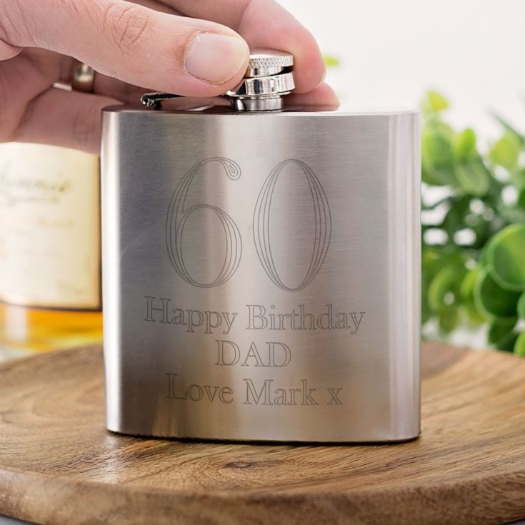 Personalised 60th Birthday Brushed Stainless Steel Hip Flask product image